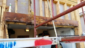 rotten beam at overhead door
