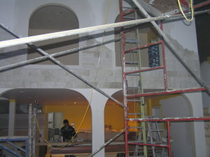 stonework, drywall and paint